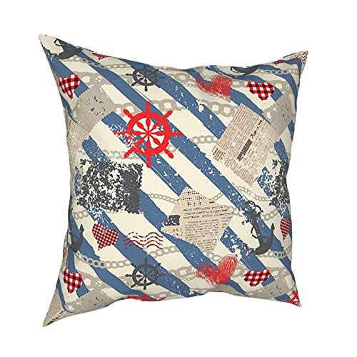 Q&SZ Sweatshirt Nautical Decor Sea Graphic with Grunge Distressed Diagonal Forms and Stripes Marine Nautical Theme Beige Red Blue Various Specifications Fashion Pillow - No Inserts Included