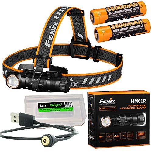 Fenix HM61R Lampe frontale LED 1200 lumens, câble de charge magnétique, 2 piles avec étui de transport EdisonBright