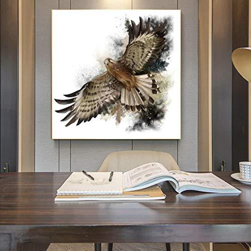 MKWDBBNM Imágenes de Animales de Acuarela, Carteles de halcón en Vuelo, Pinturas en Lienzo, Arte de Pared para decoración de Sala de Estar, 50x50cm sin Marco