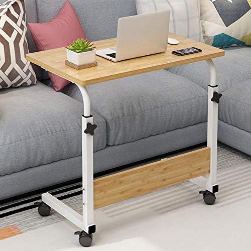LWW Tische, tragbare Magazine Snack Sofa Seitenräder, Höhenverstellung Computer-Schreibtisch C-förmig Overbed Lifting,Licht Walnut,80x40cm