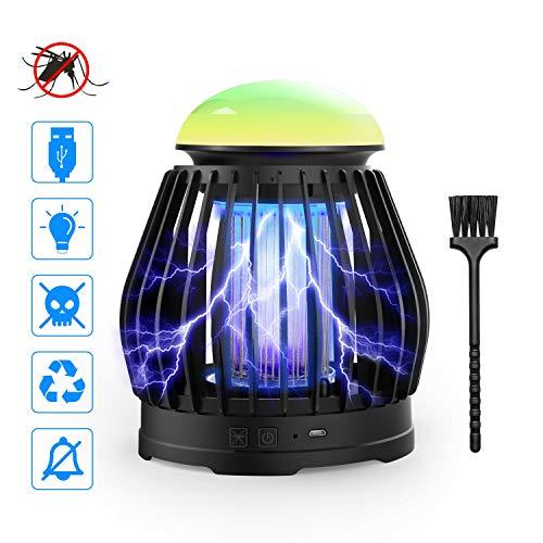 CAMROOP Mata Mosquitos Electrico, Lámpara Anti Mosquitos Trampa UV Portátil 3 en 1 con USB y Luz Multicolor, Cucarachas/Mosquito Killer Lamp para Interior, Exterior, Casa(Sin Tóxico, Olor y Sonido)