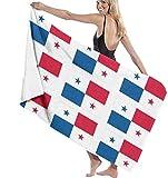 Toalla de baño de Toalla de Playa de Microfibra con Bandera de Panamá, Adecuada para Hotel, Piscina, Gimnasio, Playa, Secado Natural, Suave y rápido