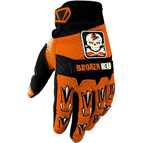 Broken Head MX-Handschuhe Faustschlag - Motorrad-Handschuhe Für Motocross, Enduro, Mountainbike - Orange - Größe L