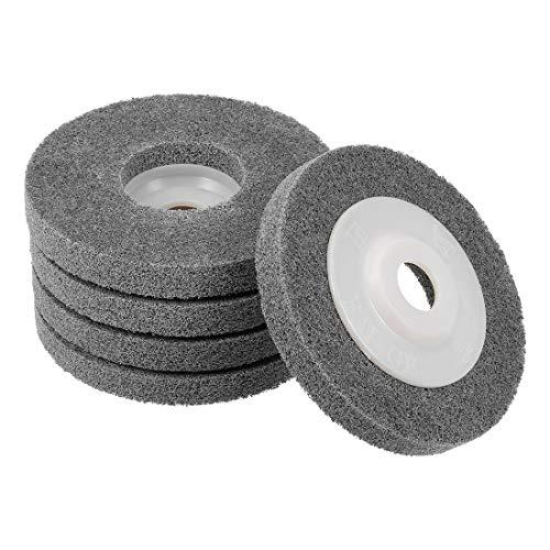 sourcing map 4 Inch Nylon Fiber Polishing Wheel Sanding Buffing 5/8 Inch Hole Abrasive Wheels for Angle Grinders 5 Pcs