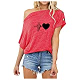 YANFANG Camiseta Estampada para Mujer,Las Mujeres del Verano De Las SeñOras Manga Corta Impresas Camisetas Blusa Rematan La Ropa,Manga,Rosa,XXL