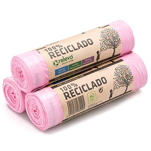 Relevo 100{b140ba7187ff2abb3a49b5eeeca3eac52fabc96f90649c4c191ca668ca4e15b6} Reciclado Bolsas Basura Perfumadas, extra resistentes 30 L, 45 bolsas