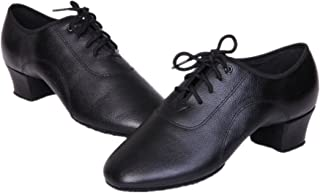 BeiBestCoat Stylish Men's Black Lace-up Leather Dancing Shoes for Men, Boy and Little Kid