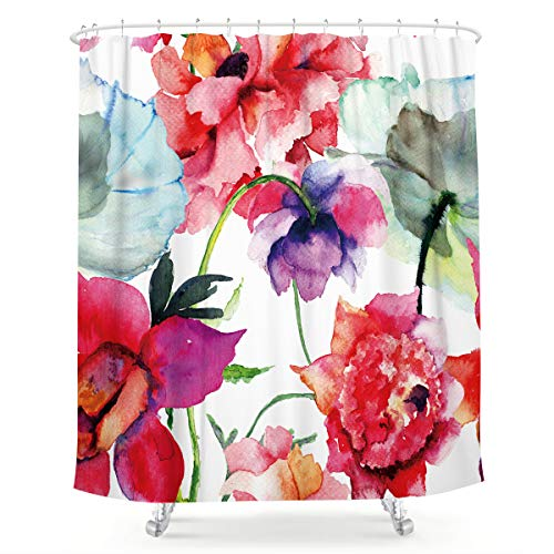 LIGHTINHOME Watercolor Floral Shower Curtain Colorful Flower Peony Red White Fabric Waterproof Bathroom Home Decor Set 72x72 Inch 12 Plastic Hooks