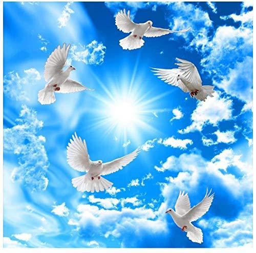 Muurschilderingen Aangepaste 3D Behang HD Blauwe Hemel en Witte Wolken Dierlijke Duif Plafond Mural Slaapkamer Woonkamer Eetkamer Achtergrond Muur Home Decoratie 300(w)x210(H)cm