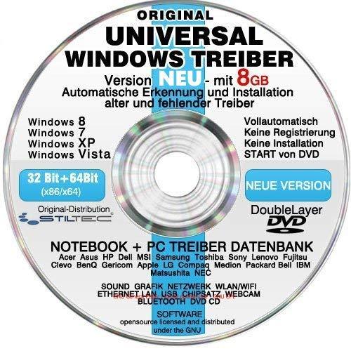 Universal Treiber Sammlung CD/DVD mit 8GB ! für WINDOWS 10 Windows 8 und 7,Vista XP (alle PC & Notebook Modelle) Universaltreiber Treiber Datenbank