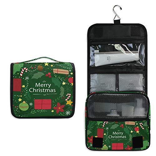 Bolsa de Aseo con diseño de Bastones de Caramelo navideños, Bolsa de Viaje para cosméticos, Bolsa de Maquillaje multifunción, Bolsa de Almacenamiento portátil, Bolsa de Lavado para Mujeres y niñas