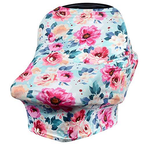 VIVOTE Baby Safe Autositzbezug Stillbezug Stillschal Mehrzweckbezug für Einkaufswagen, Hochstuhl, Kinderwagen, Dehnbar, Atmungsaktiv, Weich, Leicht, Blume