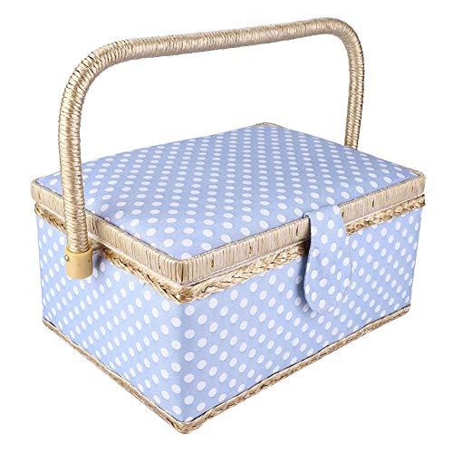 Cesto de costura de dos capas, asa cómoda Organizador de tapa práctico, caja de almacenamiento de agujas, elegantes herramientas de costura para guardar agujas en la oficina en el hogar