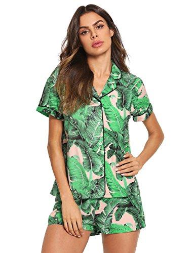 Floerns Women's Notch Collar Palm Leaf Print Sleepwear Two Piece Pajama Set Green Pink M