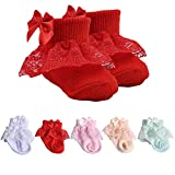 5 Pairs Toddler Lace Socks Baby Ruffles Socks Comfortable Baby Girls Lace Socks Infant Newborn Lace Socks with a Bow on Top