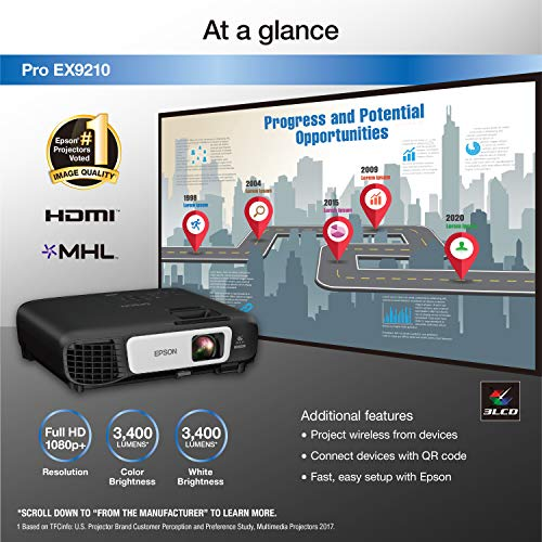 Epson Pro EX9210 1080p+ WUXGA 3,400 lumens color brightness (color light output) 3,400 lumens white brightness (white light output) wireless HDMI MHL 3LCD projector Photo #5