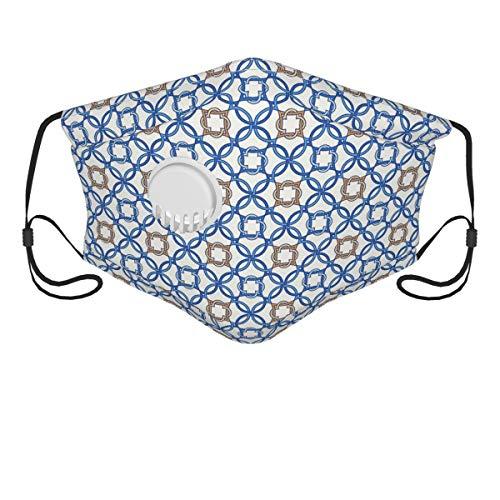 LASINSU Gesichtsbedeckung,Altes Delfter blaues Muster komplizierte alte holländische Fliesenmotive,Sturmhaube Unisex Wiederverwendbar Winddicht Staubschutz Mund Bandanas Outdoor Camping Running