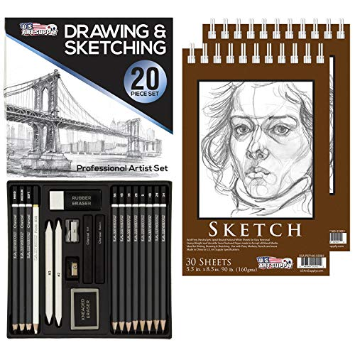 "U.S. Art Supply 20 Piece Professional Hi-Quality Artist Sketch Set in Hard Storage Case - Sketch & Charcoal Pencils, Pastel, Stumps, Eraser, Sharpeners - Bonus (Pack of 2) -5.5"" x 8.5"