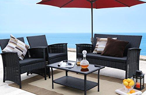 Baner Garden 4 Piece Outdoor Furniture Complete Patio Cushion Wicker Rattan Garden Set, Full, Black