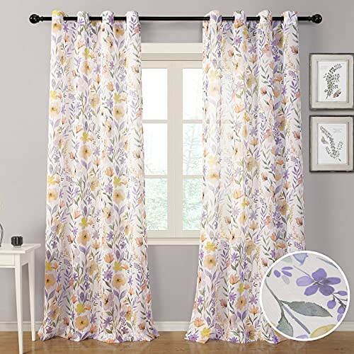 MYSKY HOME Floral Sheer Curtains for Bedroom Girls Semi Sheer Print Curtains 84 inches Long Watercolor Floral Curtains for Living Room Grommet, 2 Panels
