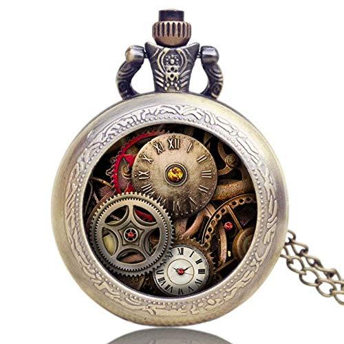 Reloj de Bolsillo Diseño Retro Gear Reloj de Bolsillo de Cuarzo Regalo para Hombres