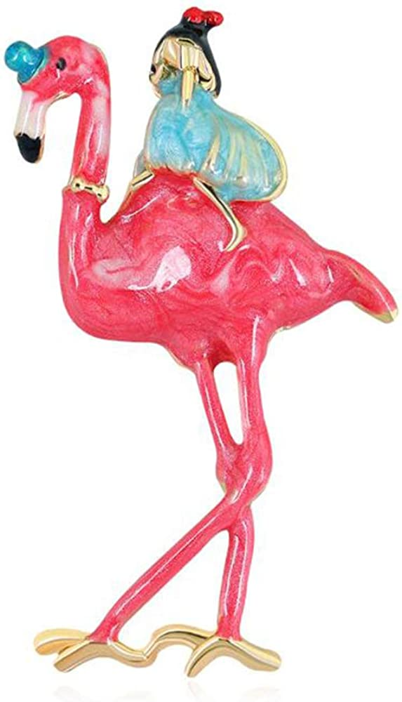 Alloy Metal Enamel Pink Flamingo Brooch Women Pin Friend and Same day shipping for Now free shipping