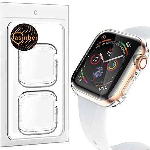 Jasinber 2-Pack Protector de visualización Completa Funda Carcasa Case Transparente Compatible con Apple Watch Series 5 y Series 4 (44mm)