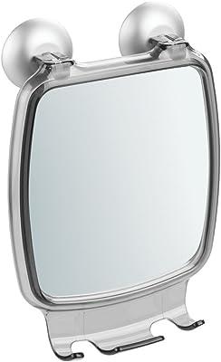 InterDesign ミラー 鏡 シャワー 風呂 バスルーム 吸盤 フック付き 防錆性 アルミ Metro Ultra スモーク シルバー 22916EJ