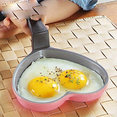 BQC Love Omelette Pots Oeufs Petit Déjeuner Mini Céramique Antiadhésives Pan Pan Gas Dédié,Pink
