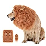 Yullmu Dog Lion Mane Costume, Lion Mane Wig Hat for Dogs, Funny Adjustable Pet Wig Clothes for Medium to Large Sized Dog, Lion Wig Costume for Halloween Christmas Cosplay Party (Brown)