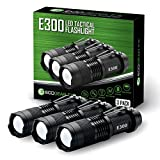 Small EDC Tactical Flashlight - EcoGear FX E300 Everyday Carry LED Flashlight with 3 Light Modes and Zoom - Great Pocket Flashlight for Men and Dad (3 PACK)