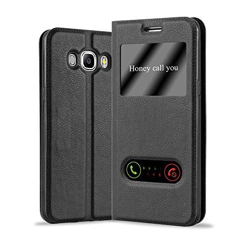 Cadorabo Hülle für Samsung Galaxy J7 2016 in KOMETEN SCHWARZ – Handyhülle mit Magnetverschluss, Standfunktion und 2 Sichtfenstern – Case Cover Schutzhülle Etui Tasche Book Klapp Style