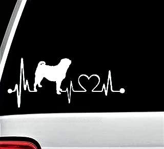 Bluegrass Decals K1029 Pug Heartbeat Lifeline Monitor Dog Decal Sticker …