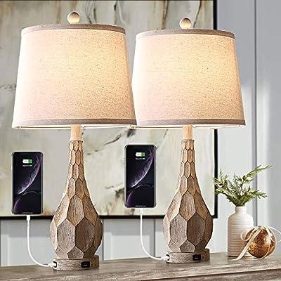 "Vintage Table Lamp Set of 2, Farmhouse USB Nightlight Lamp, 26"" Rustic Bedside Nightstand Light for Bedroom Living Room Foyer Study Office, 2-Pack (Beige Base, Beige Shade)"