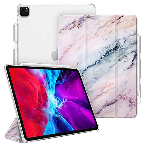 CaseBot SlimShell Case for iPad Pro 12.9' 4th & 3rd Generation 2020/2018 with Pencil Holder - Lightweight Cover Translucent Frosted Stand Hard Back, Auto Wake/Sleep (Marble Pink)