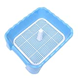 POPETPOP Inodoro para Perrito, Bandeja de Orinal Anti-Splash para Mascotas, Arenero de Entrenamiento para Perros, 45x42x15cm (Azul)
