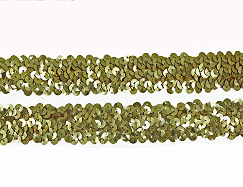 YYCRAFT Large 1' Elastic Sequin Ribbon Trim for Dress Sewing Embellishment,Hair Ties Headbands Craft(Gold)