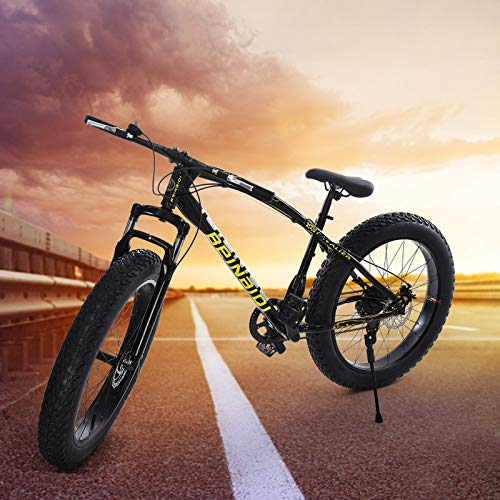 Big Fat Tire Mountain Bike Men Bicycle 26 in High Carbon Steel Frame Outdoor Road Bike 21 Speed Full Suspension MTB