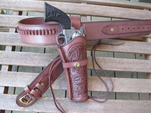 "Shotgun Lilli Gun Belt - Leather - 22 Caliber - Burgundy Color with 6"" Right Handed Tooled Holster Combo (Burgundy, 50"")"