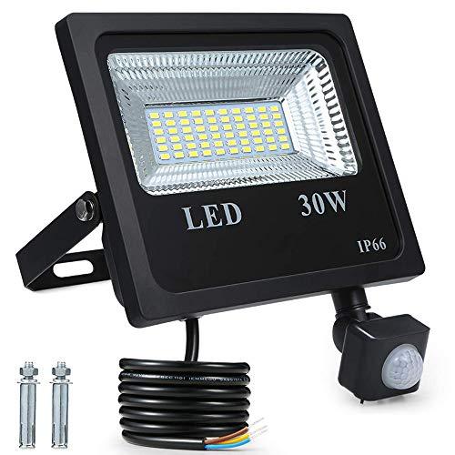 30W Außenstrahler,Fluter,LED Strahler mit Bewegungsmelder 60 LED Superhell 6000K/2400ML/IP66 Wasserdicht für Garten,Garage,Hotel,Hof Weiß