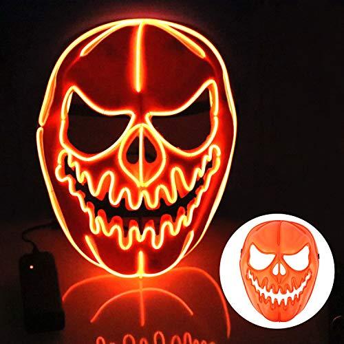 T98 Halloween Maske, LED Maske mit 3 Blitzmodi Kürbis Maske für Mann Frau,Weihnachten, Karneval, Party, Kostüm Cosplay, Dekoration