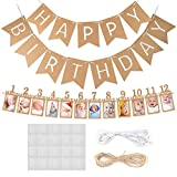 Koogel 1st Birthday Banner, Happy Birthday Photo Banner First Birthday Decoration for Newborn to 12 Months Baby Party Decor