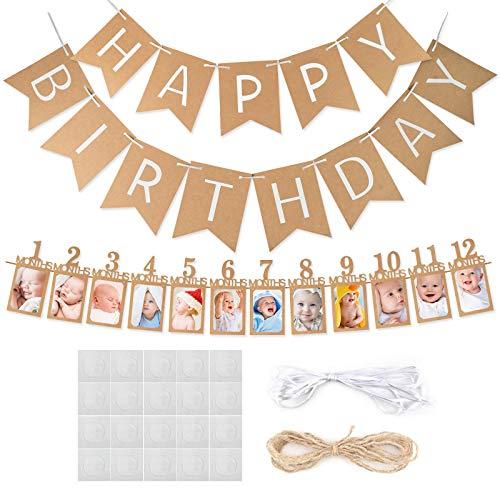 Koogel 1. Geburtstag Girlande, Baby Geburtstag Fotogirlande Foto Banner Hängende Foto Wanddekoration für Erste Heilige Kommunion Geburtstag Party