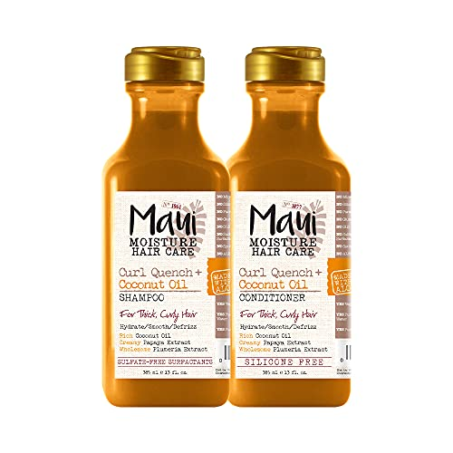 Maui Moisture Curl Quench + Coconut Oil Curl-Defining Anti-Frizz Conditioner to Hydrate and Detangle with Curl Quench + Coconut Oil Curl-Defining Anti-Frizz Shampoo to Hydrate and Detangle