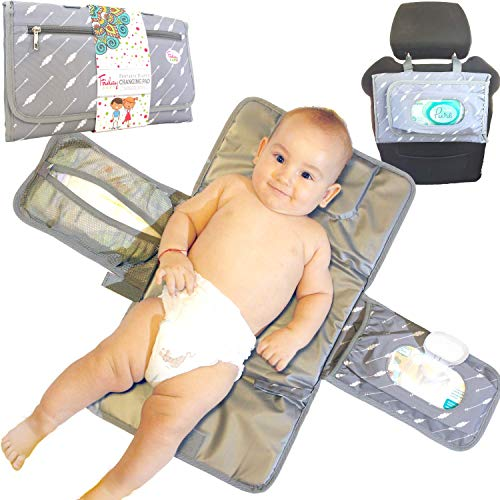 Fridaybaby Portable Diaper Changing Pad – Use One Handed - Slim and Easy to Clean Waterproof Diaper Clutch w/Pockets for Wipes and Diapers - Baby Gift - Travel Changing Mat for Diaper Bag, Gray