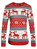 Camii Mia Women's Crew Neck Pullover Ugly Christmas Sweater (Large, Red)