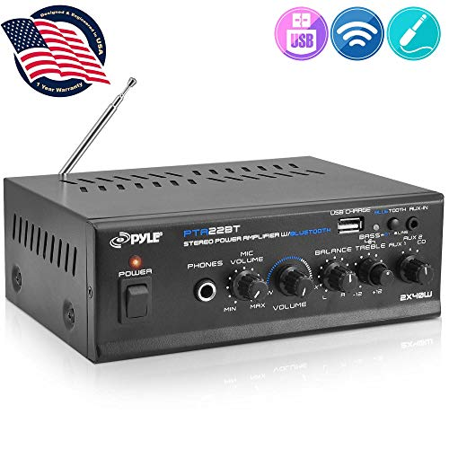 Bluetooth Mini Blue Series Home Audio Amplifier - Compact Desktop Home Theater Stereo Amplifier Receiver with USB Charge Port | Pager & Mixer Karaoke Modes | Mic Input (40 Watt x 2) | Pyle PTA22BT, 2X2X2