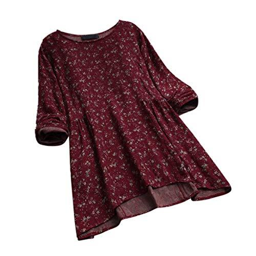 VEMOW Herbst Frühling Sommer Elegante Damen Frauen Stehkragen Langarm Casual Täglichen Party Strand Urlaub Lose Tunika Tops T-Shirt Bluse(Y3-Weinrot, 46 DE / 2XL CN)