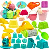 24PCS Beach Toys for Kids Sand Toys for Toddlers, Sandbox Toys with Mesh Beach Bag Includes Sand Castle, Toys Car,Bucket,WaterWheel,Shovels Tool Kit, Watering Can, Outdoor Playsets for Toddlers Age 1+