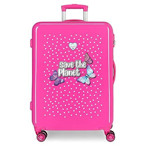Enso Save The Planet Maleta Mediana Rosa 48x68x26 cms Rígida ABS Cierre combinación 70L 3,7Kgs 4 Ruedas Dobles